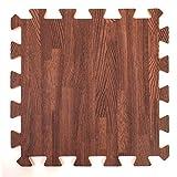Alfombrillas de espuma con diseño de madera, perfectas para protección de suelo, garaje, o para hacer ejercicio, yoga, juegos, etc. Espuma EVA, 9 baldosas, color marrón.