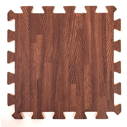 Holz-Effekt ineinandergreifende Schaumstoffmatten - Perfekt als Bodenschutz, für die Garage, Übungen, Yoga, das Spielzimmer. Eva-Schaum (9 Platten, braun)