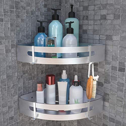 Angou 2 cestas de ducha para esquina sin agujeros, estantería esquinera con 4 ganchos, de aluminio autoadhesivo, 22,5 x 4,5 cm, color plateado