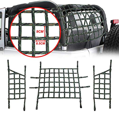 MFC Green Cargo Restraint Net System Trunk Roof Net Trail Cargo Net Fit for 2007-2018 Jeep Wrangler JK 2 Door