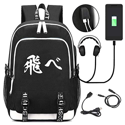 Elibeauty Japanese Anime Backpack Bookbag Laptop School Bag with USB Charging Port for Women & Men School College Students Backpack(10)