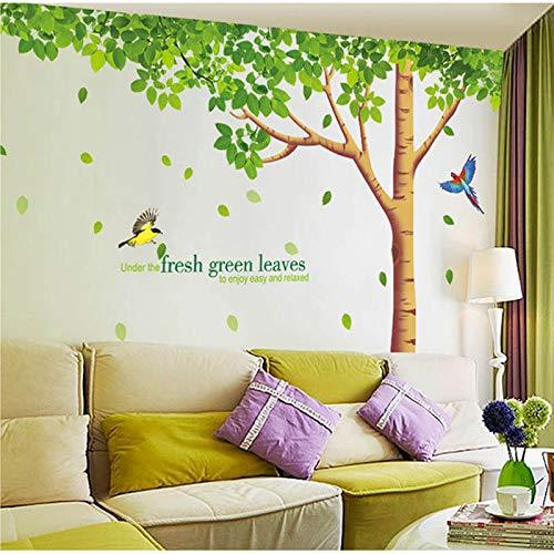 PMSMT Tamaño Grande 310 * 204 cm Sala de Estar/Fondo de TV Pegatinas de Bricolaje Extra Grandes Hojas Verdes Frescas Árbol Pájaros Pegatinas de Pared Calcomanía Mural