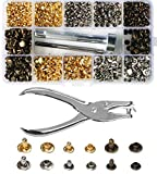 300 Set 2 Sizes Leather Rivets Double Cap Rivet Tubular Metal Studs with 4 Pieces Fixing Tool for DIY Leather Craft, Rivets Replacement,3 Colors