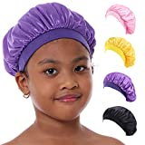 Kids Satin Bonnet Sleeping Cap for Natural Hair, Toddler Satin Cap for Sleeping Teens Child Baby Silk Bonnet with Elastic Band (4-9 years old, 4Pack-All-Pure)