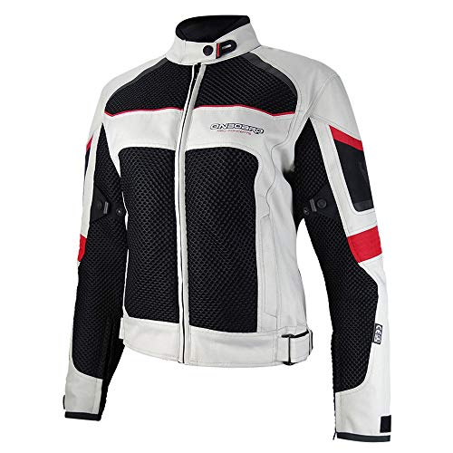 ON BOARD Chaqueta Verano 3D-AIR,UNISEX,XL,Gris claro/Negra/Roja
