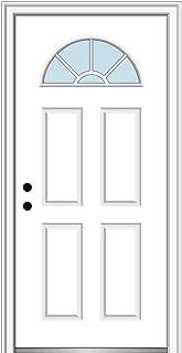 National Door Company ZZ00774R Steel Primed, Right Hand in-Swing, Prehung Front Door, Wagon Wheel 1/4 Lite 4-Panel, Clear Glass, 36