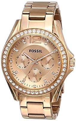 Fossil ES2811 de cuarzo para mujer con correa de acero inoxidable bañado, color dorado