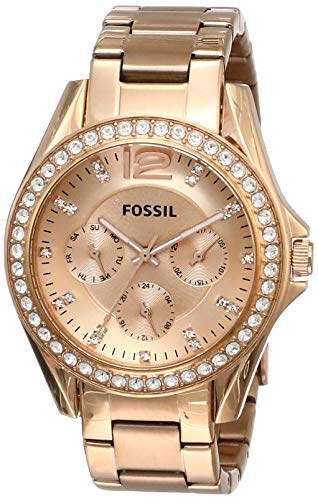 Fossil Women's Riley Quartz Stainless Multifunction Watch, Color: Rose Gold (Model: ES2811)