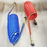 15' RED AND BLUE COIL COILED AIR LINE HOSE SET - TRAILER BRAKE - 1/2' Fittings