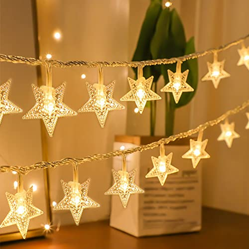 Christmas Star Lights, 2 Pack Star String Lights Waterproof Fairy Lights Battery Operated 20Ft 40 LED Twinkle Christmas Lights for Bedroom Home Indoor Outdoor Wedding Christmas Decorations, Warm White
