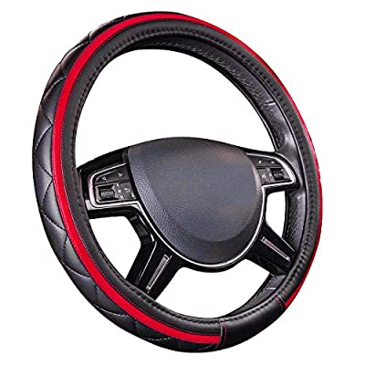 CAR PASS Sporty Quilting Leather Universal Fit Steering Wheel Cover,Fit for Suvs,Vans,Sedans,Trucks (Black and Red)