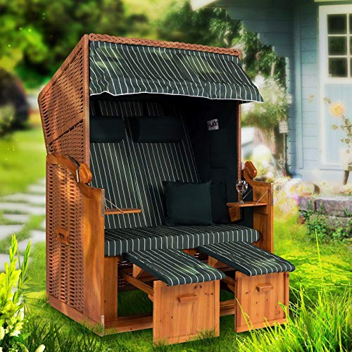 Strandkorb Ostsee XXL Volllieger 2 Sitzer - 120 cm breit - grün weiß gestreift inklusive Schutzhülle, ideal für Garten und Terrasse