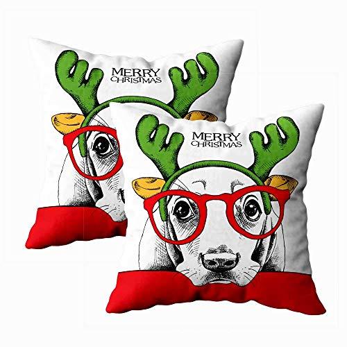 Fundas de Almohada Cartel de Navidad Perro Hound Retrato en máscara Antler Reno Funda de Almohada Grande 18X18 Pulgadas 2 Piezas