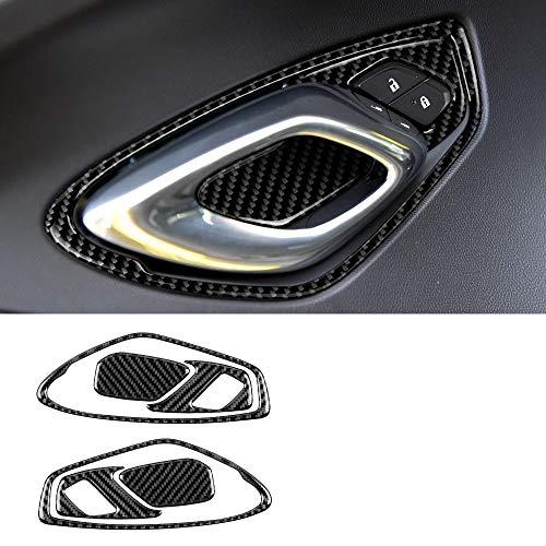 6pcs Black Real Carbon Fiber Interior Door Handle Cover Trim Decal Sticker for Chevrolet Camaro 2016-2020 Accessories