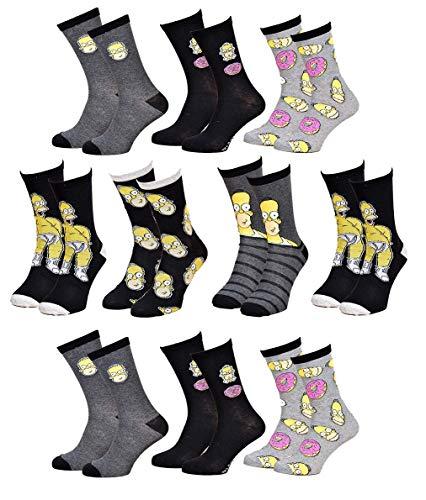 Disney Socks And Underwear Herren-Socken Simpsons aus Baumwolle, verschiedene Modelle mit Fotos je nach Verfügbarkeit, mehrfarbig Gr. One size, 10 Paar