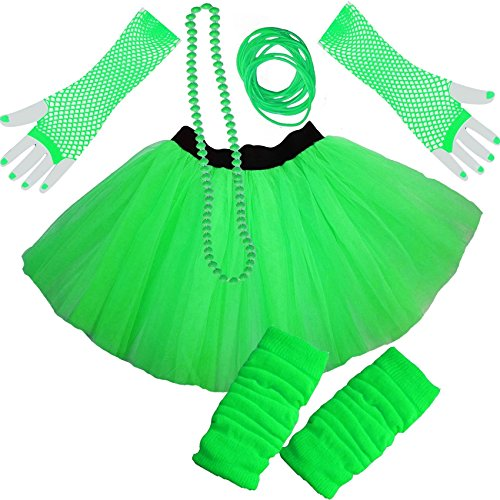 Low Cost Neon Green, Orange, Pink or Yellow Tutu Skirt with Leg Warmers and Fishnet Gloves - Size 8 to 22
