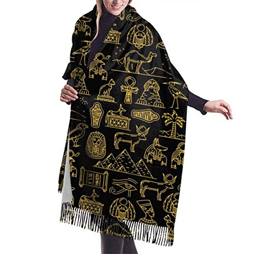 H.D. Winter Schal Damen Warm Baumwolle Alte Götter von Ägypten Pashmina Schals mit...