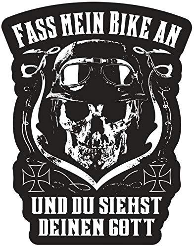 Aufkleber Fass Mein Bike an und du siehst deinen Gott (wetterfest)