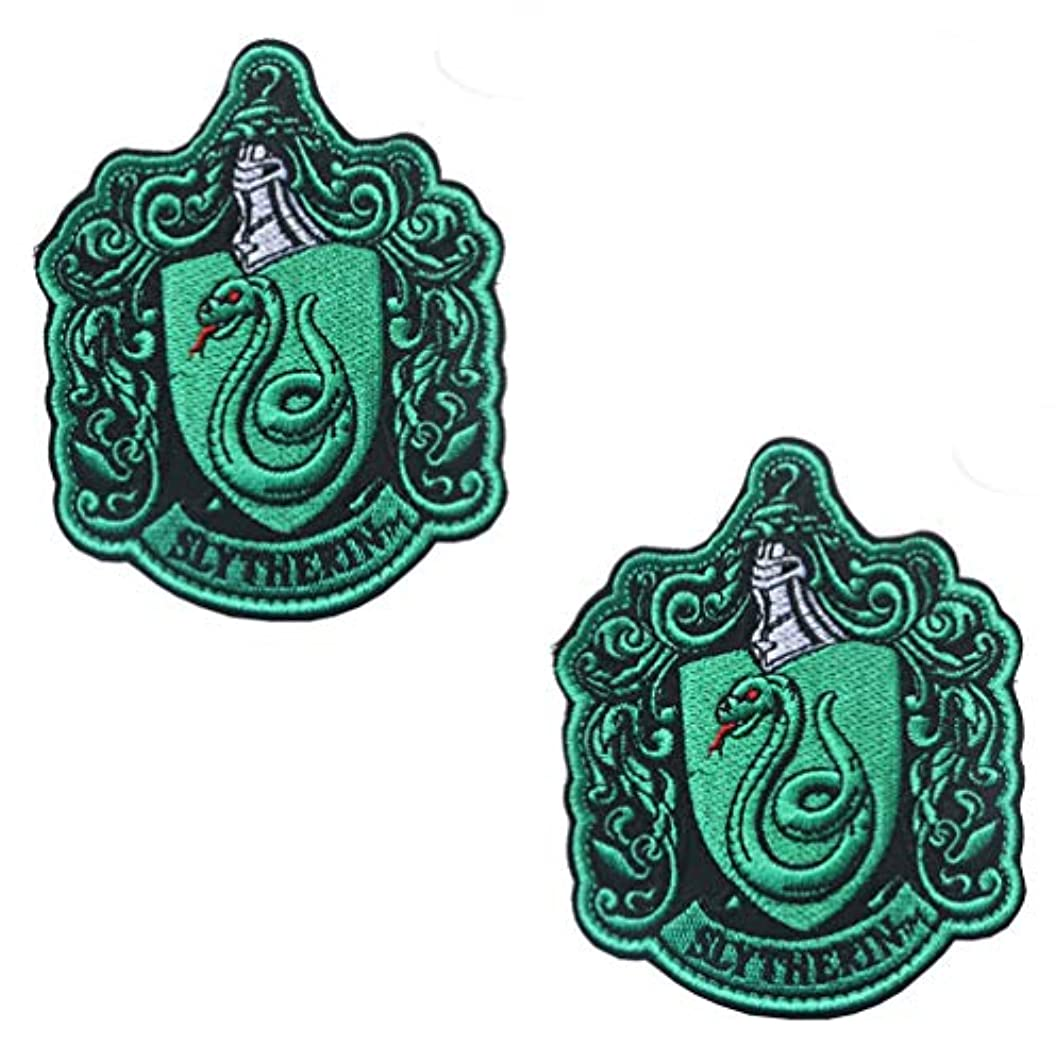 2PCS Harry Potter House of Slytherin Hogwarts Crest Patch Hook and Loop Backing 3.94