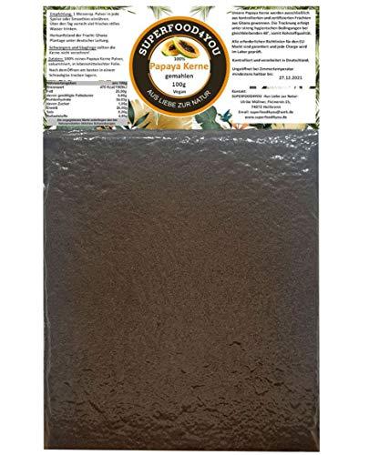Papaya Kerne Pulver 100g gemahlen bei 40° kontrolliert getrocknet - Rohkostqualität - Ohne Zusatzstoffe - Garantiert rein - Gluten - Laktosefreie Papaya Samen - Papain/Milde Schärfe