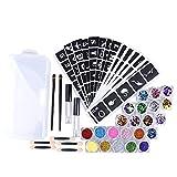 Montloxs Body Glitter Tattoo Set Kit de tatuajes temporales con purpurina 22 PCS Colors Kit de tatuajes falsos con plantillas de tatuajes Pinceles Pegamento Impermeable Maquillaje temporal Pintura