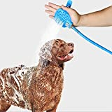 Prime Paws Pet Dogs Shower Sprayer with Brush Pet Bathing Tool Cleaning Gloves Washer Hair Remover Pet Bath Shower Indoor Outdoor Handheld Sprayer – 240cm Long Hose & 2 Adaptors