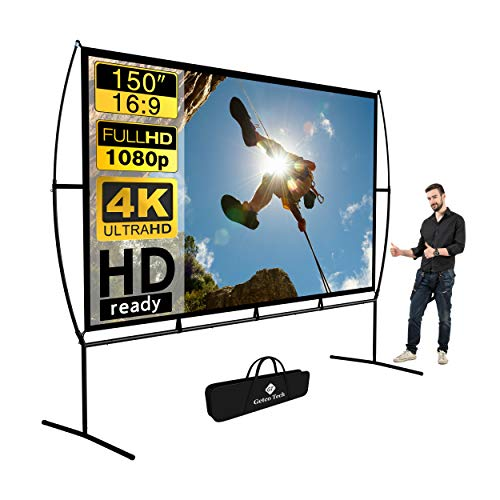 Projector Screen, Outdoor Projector Screen 150 Inch 16:9 4K HD Foldable Projector Screen with Stand for Outdoor Movie Screen Home Theater Indoor Projector Screen and Gifts idea