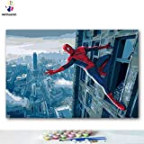 Kit de peinture à l'huile 30,5 x 45,7 cm pour enfants, étudiants, adultes débutants avec pinceaux et pigment acrylique – Avengers Spiderman (sans cadre)