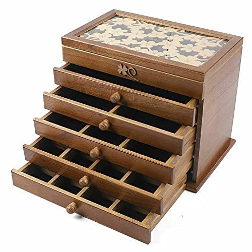 Joyero de 6 capas para joyas, tallado de flores, caja de cosmética, caja de madera para relojes de mujer, tallada en color marrón para anillos, pendientes, collares, organizador