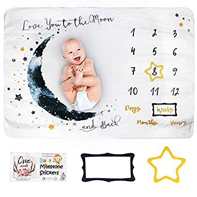 Baby Monthly Milestone Blanket Girl Or Boy, Unisex   Month Blanket Baby for Pictures   Personalized Shower Gifts New Moms   Track Growth & Age  Premium Fleece Set of Month Stickers + 2 Frame