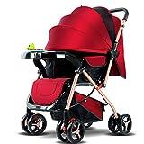 JHTD Triciclo para Bebés, Cochecito De Dirección Plegable, Bicicleta De Aprendizaje con Barandilla Desmontable, Dosel Ajustable, Arnés De Seguridad, Pedal Plegable, Freno,Rojo