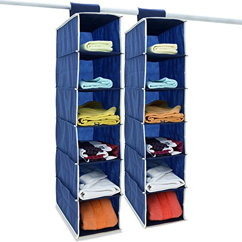 DEUBA 2er Set Hängeregal Kleiderschrank 6 Fächer Organizer Klettverschluss Faltbar Ordnungssystem Camping Schuhe 80x15x30 cm Blau Weiß