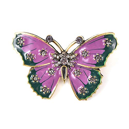 TJC Butterfly Grey Crystal Brooch for Women