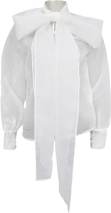 Camisa Holgada de Organza para Mujer, Blusa de Manga Larga ...