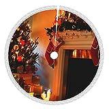 Affordable shop Faldones de árbol de Navidad con borla, 91,4 cm, para chimenea, chimenea, color blanco fuego, para Navidad, fiestas o decoración del hogar