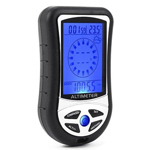 BW Dispositivo multifunción 8 en 1 con Pantalla LCD (brújula Digital, altímetro, barómetro y termómetro), Color Negro
