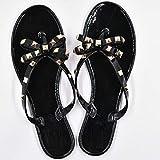 Caliente 2019 moda mujer flap colmillos de verano zapatos de verano fresco playa remaches big arco sandalias planas marca jalea zapatos sandalias niñas tamaño 36-41 ( Color : Black , Shoe Size : 38 )