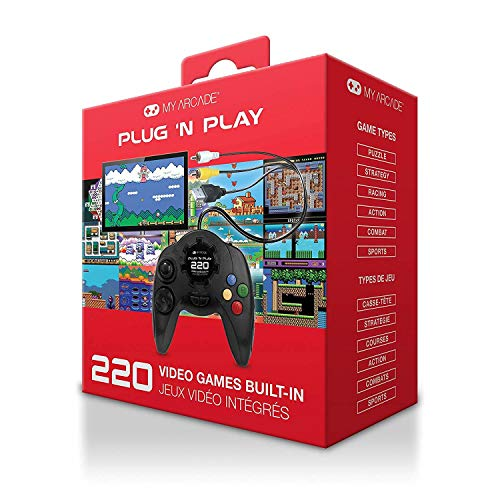 My Arcade Plug N Play TV Game Console: 220 Retro Style Games, Plugs Into TV, Battery or USB Powered, Ergonomic Controller Shape, Tactile Buttons
