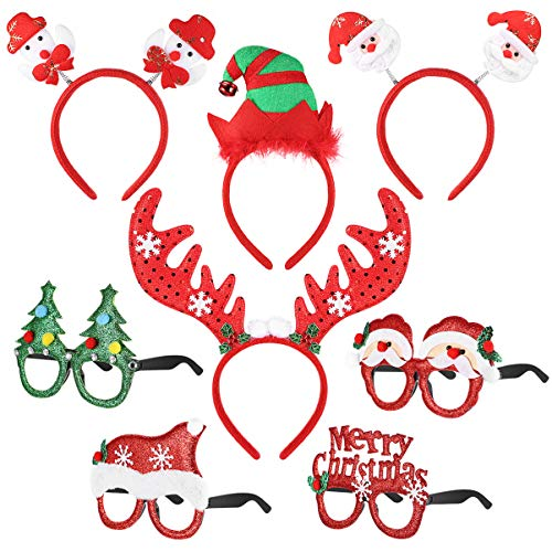 NUOBESTY Weihnachten Kostüm Stirnbänder mit Brille Set Photo Booth Requisiten für Kinder Weihnachten Urlaub Partei zugunsten Geschenke - 4 Stück Stirnbänder + 4 Stück Brillen