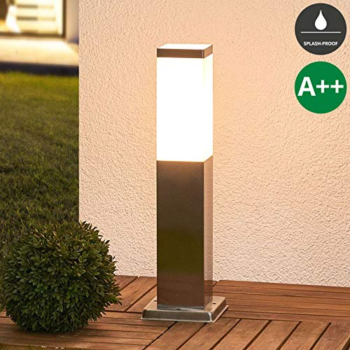 Lampenwelt Außenleuchte 'Lorian' (spritzwassergeschützt) (Modern) in Alu aus Edelstahl (1 flammig, E27, A++) - Wegeleuchte, Pollerleuchte, Wegelampe, Sockelleuchte