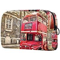 Dragon Sword 化粧ポーチ メイクケース 化粧品収納 小物入れ 普段使い 出張 旅行 メイク ブラシ バッグ 化粧バッグ ポーチ 赤い バス ロンドン
