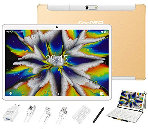 10'' Android Tablet PC, 4GB RAM + 64GB ROM, GOODTEL Tablets with Google GMS Certification | Wi-Fi 2.4 GHz | Bluetooth 4.0 | Dual Speakers | Dual Cameras ( 5MP + 8MP ) | Keyboard - Gold