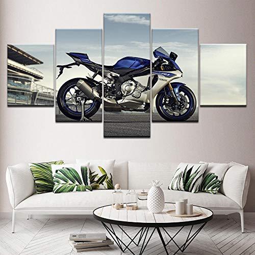 hgjfg Cuadro sobre Impresión Lienzo 5 Piezas Listo para Colgar un Marco Corredor de la Motocicleta HD Arte De Pared Modulares Sala De Estar Dormitorios Decoración para El Hogar Póster