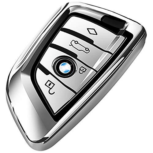 COVELL für BMW Autoschlüssel Hülle, Prämie Weiches TPU Schutzhülle Schlüsselhülle Cover für BMW X1 X2 X3 X5 X6 and 5 Serie 2018 7 Serie 2017 up 2 Seris and 6 Serie (GT) Smart Remote, Silber