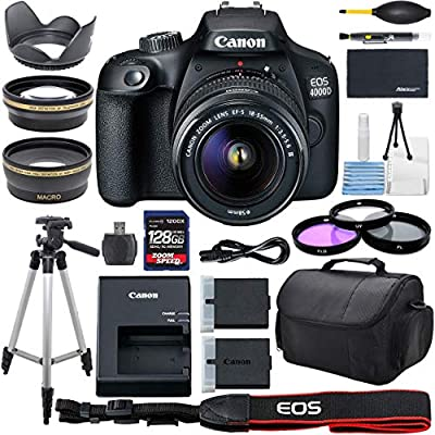 Canon EOS 4000D DSLR Camera with 18-55mm f/3.5-5.6 Zoom Lens, 128GB Memory,Case, Tripod and More - AOM Pro Bundle Kit (28 PCS) by AOM