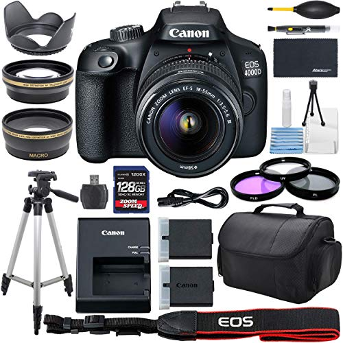 Canon EOS 4000D DSLR Camera with 18-55mm f/3.5-5.6 Zoom Lens, 128GB Memory,Case, Tripod and More - AOM Pro Bundle Kit (28 PCS)