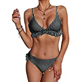 CheChury 2021 Mujer Conjuntos De Bikini De Talle Alto Volantes Dos Piezas Traje de baño Brasileños Halter Push up Acolchado Tartán Cuello V BañadorAs Triángulo Relleno