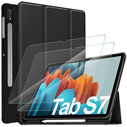 IVSO Custodia per Samsung Galaxy Tab S7, per Samsung Galaxy Tab S7 11 Pellicola, per Samsung Galaxy Tab S7 11 2020 Pellicola Protettiva, Custodia Cover con 2.5D, 9H Vetro Temperato, Nero + 2 Pack