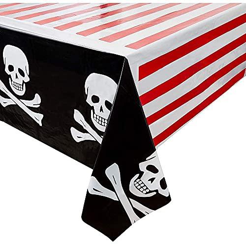 Pirate party supplies–3confezione di teschi e ossa tovaglie rettangolare in plastica usa e getta per bambini, addobbi di compleanno in rosso bianco e nero 137,2x 274,3cm