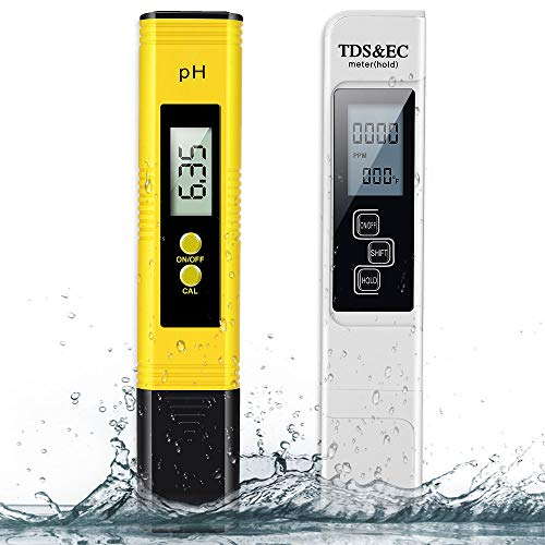 pH Meter and TDS Meter 2 in 1 Set,BLANDSTRS Digital Water Quality Tester,0~9990 PPM, EC and Temperature Measurement; 0.01 PH High Accuracy with 0-14 PH Measurement Range